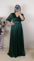 Büzgülü Simli Uzun Elbise - Yeşil