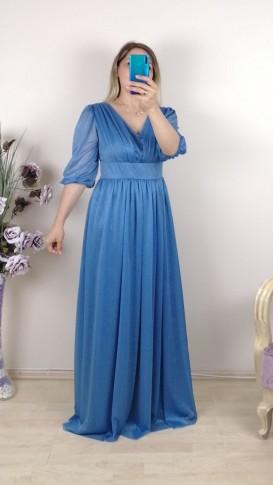 Büzgülü Simli Uzun Elbise - Mavi