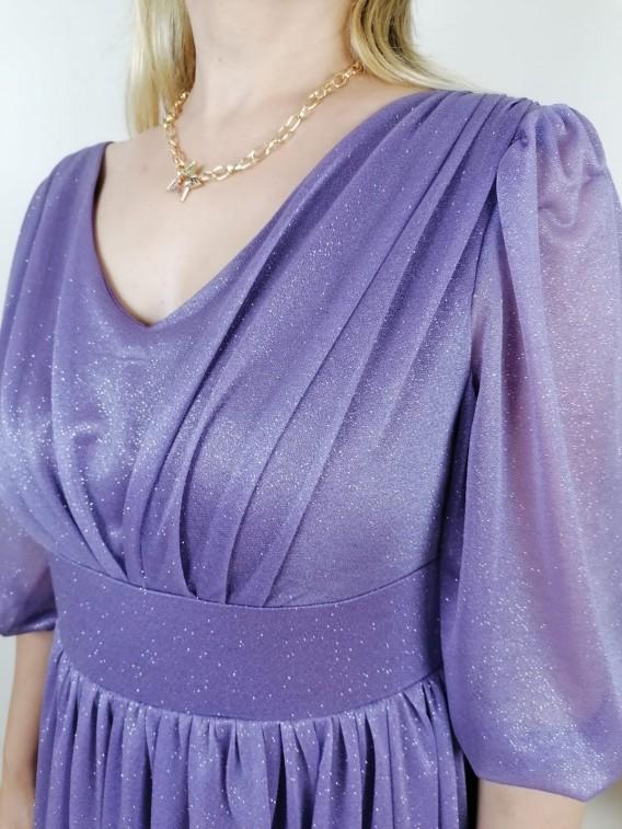 Büzgülü Simli Uzun Elbise - Lila