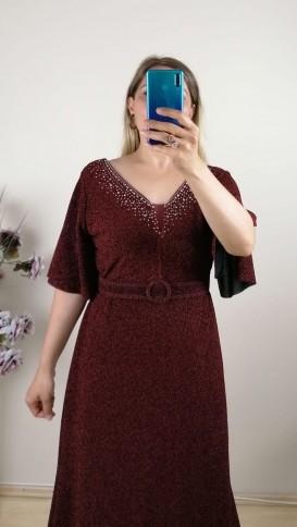 Yakası Taşlı Kemerli Battal Elbise - Bordo