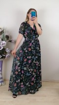 Çiçekli Kruvaze Yaka Şifon Elbise -Siyah