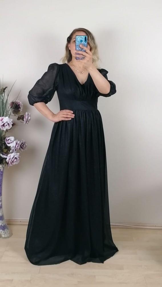 Büzgülü Simli Uzun Elbise - Siyah