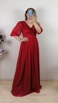 Büzgülü Simli Uzun Elbise - Kırmızı