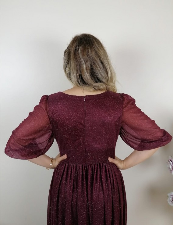 Büzgülü Simli Uzun Elbise - Bordo