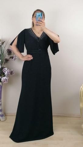 Yakası Taşlı Kemerli Battal Elbise - Siyah