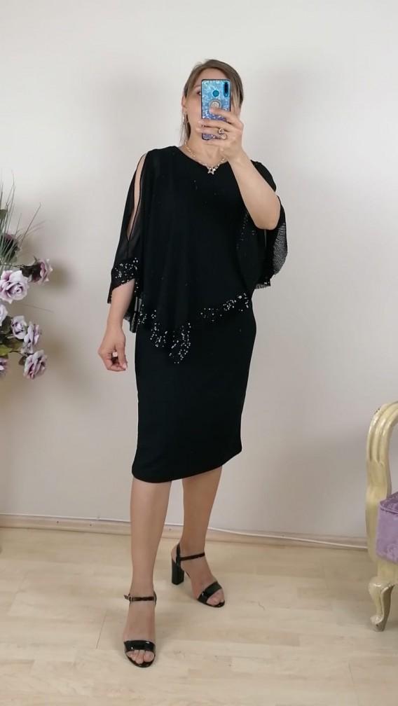 Üzeri Ucu Pullu Şifon Battal Elbise  Kısa - Siyah