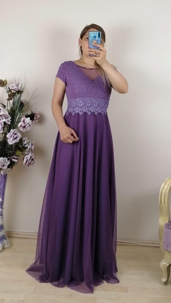 Bebe Kol Tül Etek Uzun Elbise - Lila