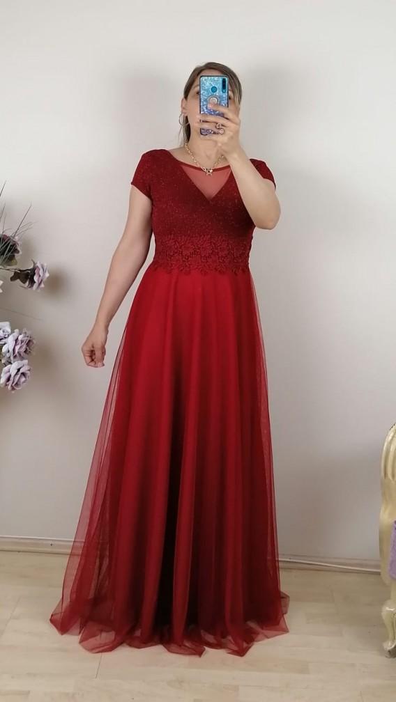 Bebe Kol Tül Etek Uzun Elbise - Kırmızı