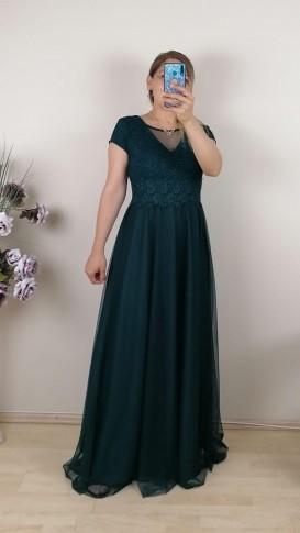 Bebe Kol Tül Etek Uzun Elbise - Yeşil