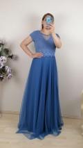 Bebe Kol Tül Etek Uzun Elbise - Mavi