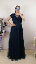 Bebe Kol Tül Etek Uzun Elbise - Lacivert