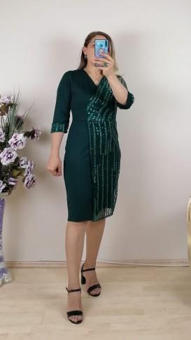 Tek Tarafı Pullu Kol Ucu Manşetli Elbise - Zümrüt Yeşil