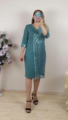 Tek Tarafı Pullu Kol Ucu Manşetli Elbise -Yeşil