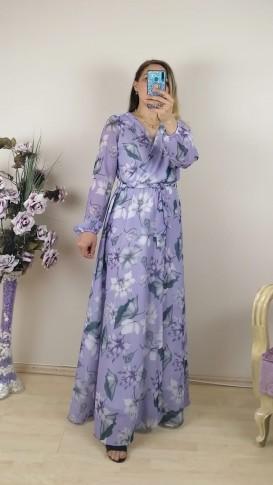 Çiçekli Kruvaze Yaka Uzun Kol Şifon Elbise - Lila