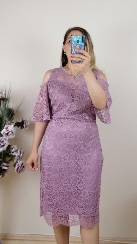 Dantel Kol Detaylı Elbise- Pembe
