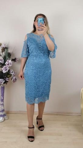Dantel Kol Detaylı Elbise- Bebe Mavi
