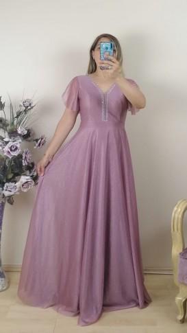 Yakası Taşlı  Simli Uzun Elbise - Gül Kurusu