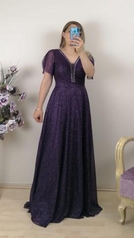 Yakası Taşlı  Simli Uzun Elbise - Mor