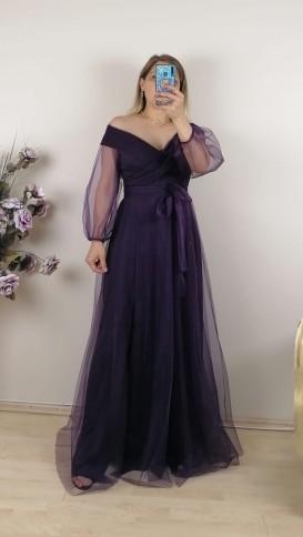 Madonna Yaka Bağcıklı Kuşak Detaylı Elbise - Mor