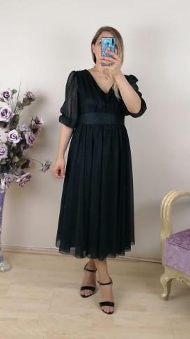 Büzgülü Simli Kısa Elbise - Siyah