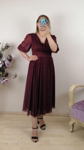 Büzgülü Simli Kısa Elbise - Kırmızı