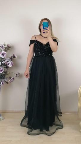 Üzeri Pullu Askılı Tül Etek Elbise - Siyah