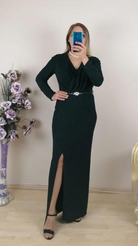 Uzun Kol kemer Detaylı Simli Elbise - Yeşil