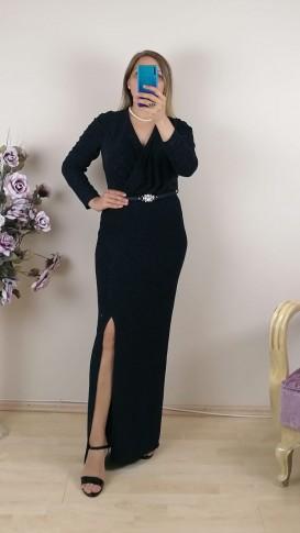 Uzun Kol kemer Detaylı Simli Elbise - Lacivert