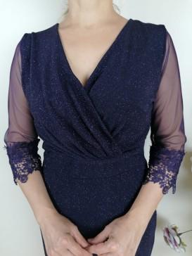Tül Detaylı Kolları  Dantel İşlemeli Elbise - Mor
