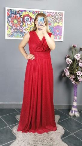 Kolsuz Kruvaze Yaka Simli Elbise - Kırmızı