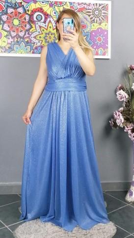 Kolsuz Kruvaze Yaka Simli Elbise - Mavi