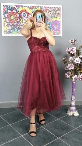 Askılı Tül Etek Kısa Elbise - Bordo