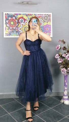Askılı Tül Etek Kısa Elbise - Lacivert