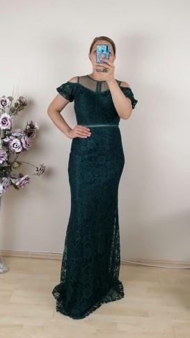 Beli  Ve Üzeri Motifli Uzun Dantel Elbise - Zümrüt Yeşil