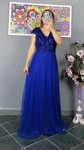 Üzeri Pul Payetli Tül Etek Uzun Elbise - Saks Mavi