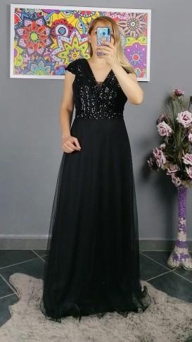 Üzeri Pullu Tül Etek Uzun Elbise - Siyah