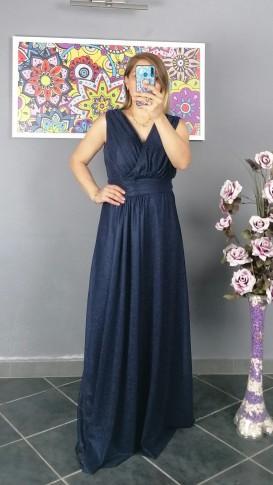 Beli Piliseli Simli Tül Kumaş Elbise - Lacivert