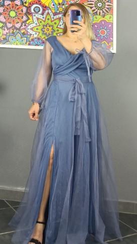 Madonna Yaka Bağcıklı Kuşak Detaylı Elbise - İndigo Mavi