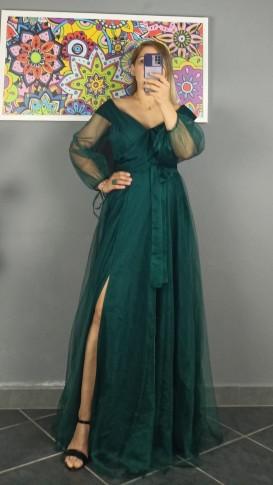 Madonna Yaka Bağcıklı Kuşak Detaylı Elbise - Zümrüt Yeşil