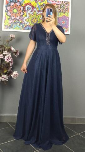 Yakası Taşlı  Simli Uzun Elbise - Lacivert