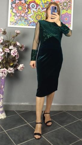 Üzeri Koluçları Pullu Kadife Elbise - Yeşil