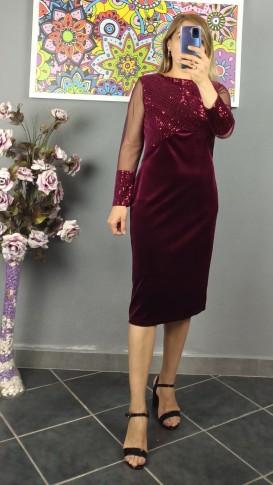 Üzeri Koluçları Pullu Kadife Elbise - Bordo
