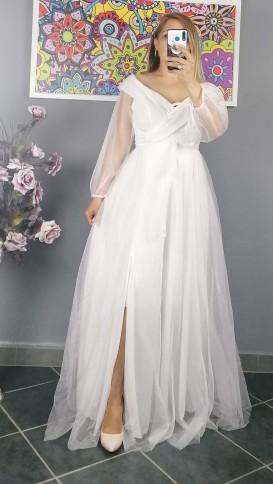 Madonna Yaka Bağcıklı Kuşak Detaylı Elbise - Beyaz