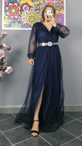 Uzun Kol Kemerli Kabartma Desen Elbise - Lacıvert - Mürdüm