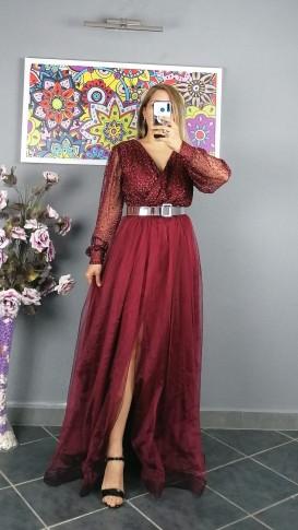 Uzun Kol Kemerli Kabartma Desen Elbise - Bordo