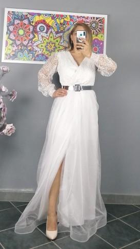 Uzun Kol Kemerli Kabartma Desen Elbise - Beyaz