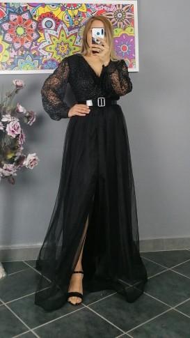 Uzun Kol Kemerli Kabartma Desen Elbise - Siyah