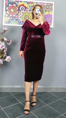 Açık Omuz Kemerlı Kadife Elbise - Bordo