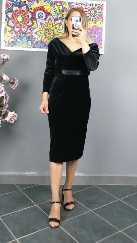 Açık Omuz Kemerlı Kadife Elbise - Siyah