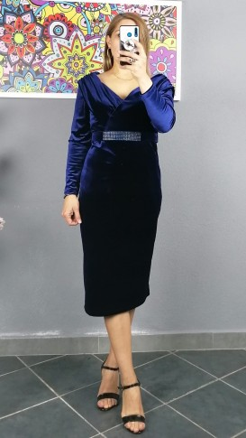 Açık Omuz Kemerlı Kadife Elbise - Lacivert